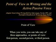 Point of View in Writing and the Active