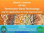 Terminator Gene Technology & its applications in Crop Improvement