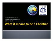 CLP Talk 3 What It Means to be a Christian (Ronie Coloma CFC Brunei) 0