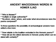 Ancient Macedonian words in Homer's Ilia
