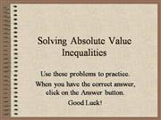 Solving Absolute Value Inequalities Prac