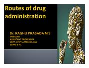 CLASS ROUTES OF DRUG ADMINISTRATION