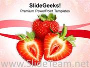 IMAGE OF RED STRAWBERRY FRUIT POWERPOINT TEMPLATE