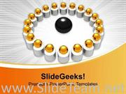 IMAGE OF GOLDEN BALLS IN CIRCLE POWERPOINT TEMPLATE