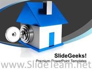 IMAGE OF LOCKED HOUSE POWERPOINT TEMPLATE