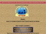 wind power role in india aitam ppt  FINAL