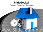 HOUSE LOCKED WITH KEY POWERPOINT TEMPLATE