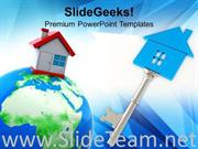 HOUSE ON GLOBE SIVER KEY ESTATE POWERPOINT TEMPLATE