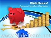RED PIGGY BANK WITH STACK OF GOLD COINS POWERPOINT TEMPLATE