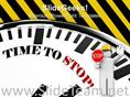 WHITE CLOCK WITH WORDS TIME TO STOP POWERPOINT TEMPLATE