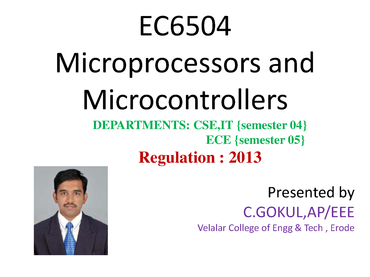 Ec6504 Microprocessor Microcontroller Authorstream Interfacing Adc To 8051 Related Presentations