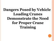 Dangers Posed by Vehicle Loading Cranes Demonstrate the Need for Prope