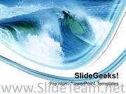 WATER WAVES ON BLUE WHITE BACKGROUND POWERPOINT TEMPLATE