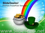 IRISH HAT AND POT OF GOLD COINS PATRICKS DAY POWERPOINT TEMPLATE
