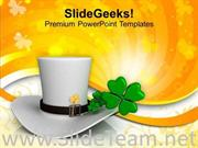 WHITE HAT WITH SHAMROCK FESTIVAL POWERPOINT TEMPLATE