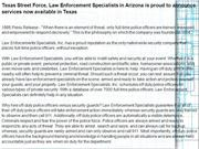 Texas Street Force, Law Enforcement Specialists in Arizona