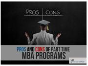Pors And Cons of Part Time MBA Programs