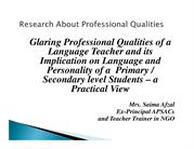 Glaring Professional qualities of a language teachers