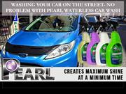 Washing car on the street with pearl waterless car wash