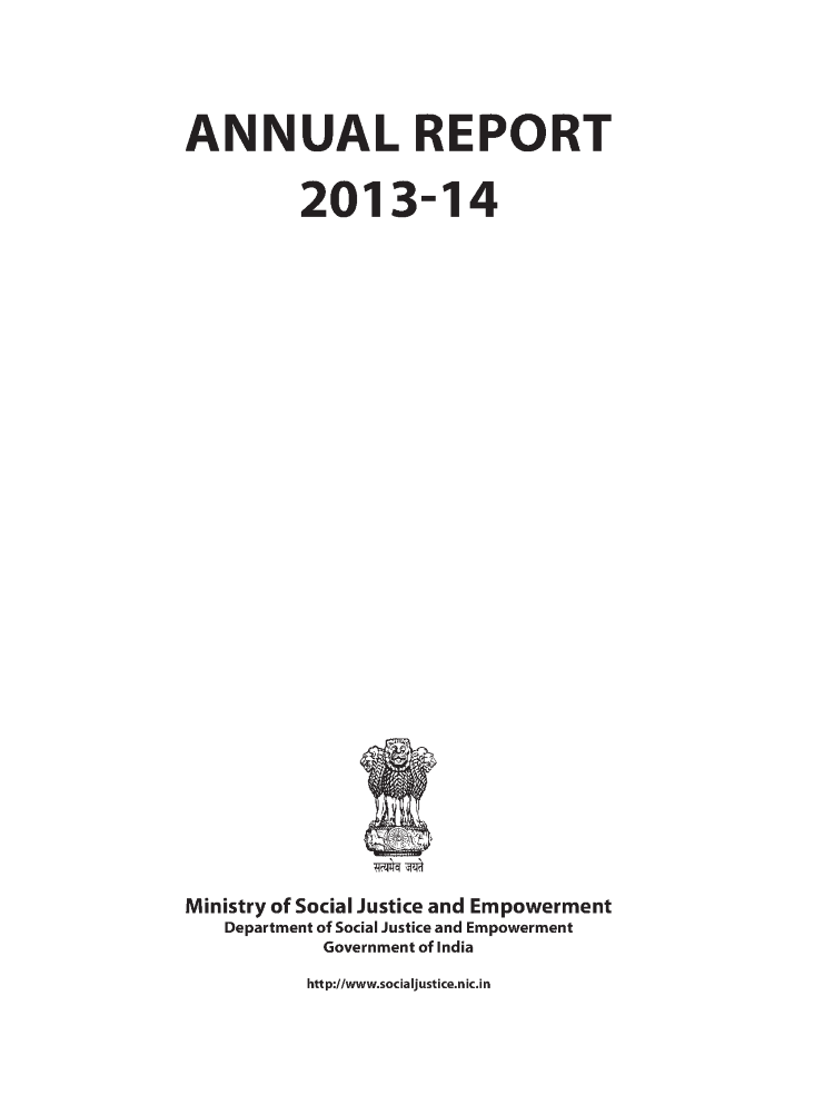ANNUAL REPORT MINISTORY of SOCIAL JUSTICE AND EMPOWERMENT