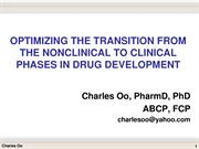 First-in-human transition to clinical phases of drug development