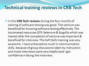 Technical training reviews in CRB Tech ppt