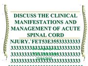 Discuss The Clinical Manifestations & Management Of Acute
