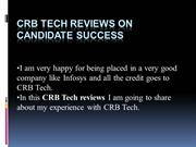 Reviews by crb tech on candidate success