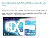 MXF to MOV---How to Convert MXF to MOV with No Quality
