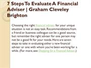 7 Steps To Evaluate A Financial Adviser - Graham Cleveley Brighton