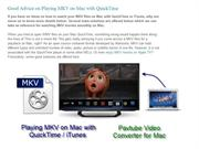 Good Advice on Playing MKV on Mac with QuickTime