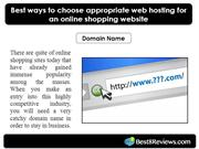 Best ways to choose appropriate web hosting for an online shopping web