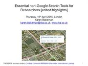 Essential non-Google search tools for researchers  - edited highlights
