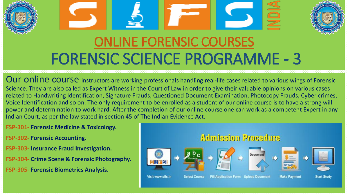 Forensic Science list of sciences courses