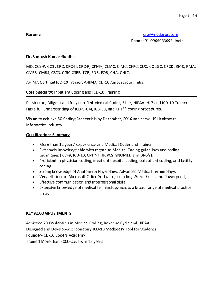 Medical Coding Trainer Resume Authorstream