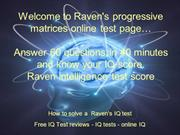 Raven's progressive matrices test online, free download. IQ Test