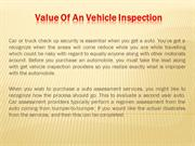 Value Of An Vehicle Inspection