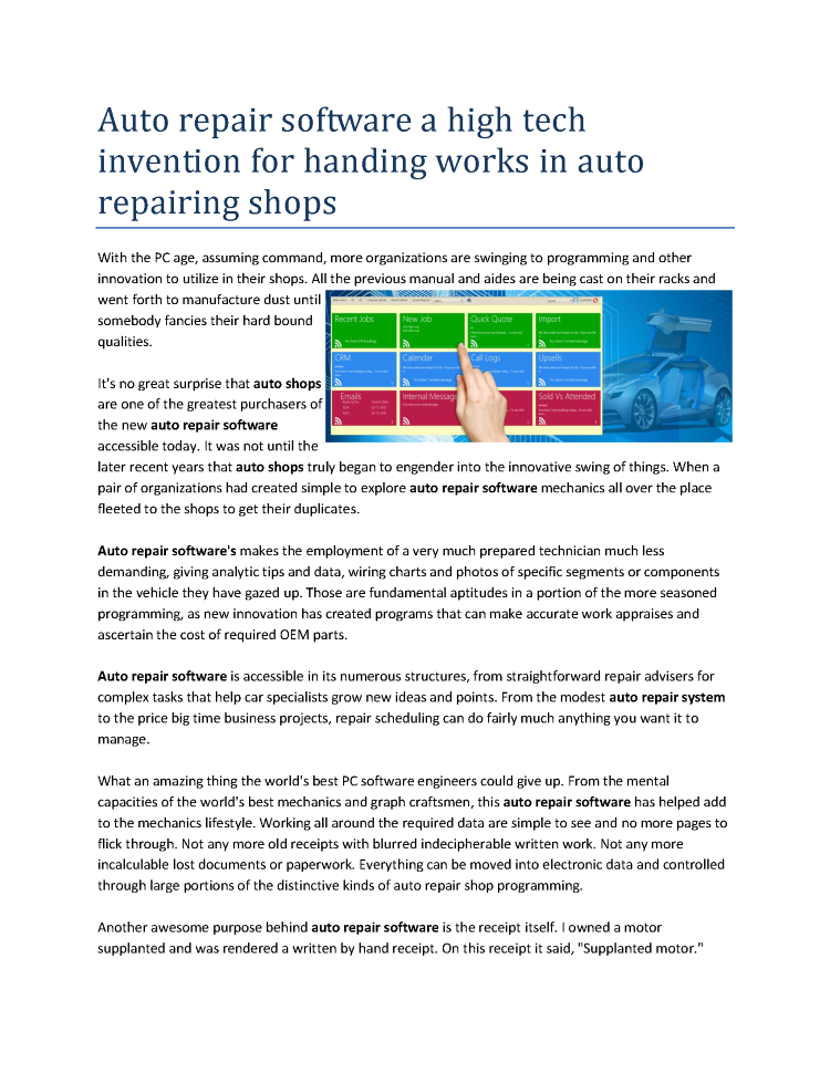 auto repair software a high tech invention for handing works in au