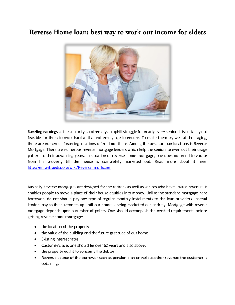 reverse mortgage loan Curious about a reverse mortgage read our guide and figure out whether this product is right for you or your loved one.
