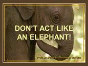 DON'T ACT LIKE AN ELEPHANT!