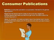 Consumer Publications Presentation