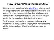 How is WordPress the best CMS