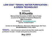 TERAFIL water filter-Invented by S.KHUNTIA-MAY 2015