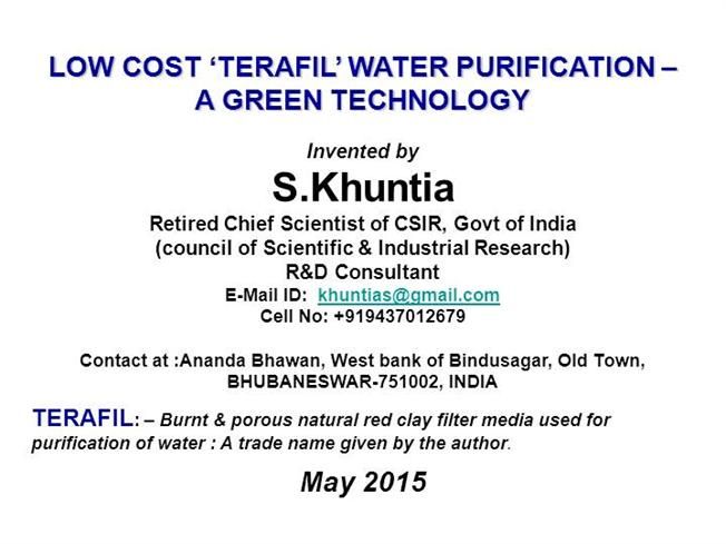 TERAFIL Water Filter-Invented by S KHUNTIA-MAY 2015 |authorSTREAM