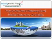 Why Do You Need Missionary Travel Medical Insurance - An Insight