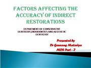 Factors affecting the accuracy of indire
