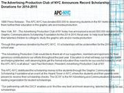 The Advertising Production Club of NYC Announces Record Scholarship