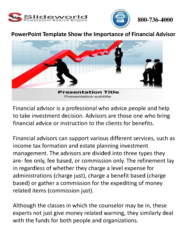 powerpoint template show the importance of financial advisor, Presentation templates