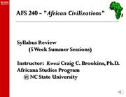 AFS 240 Syllabus Review Summer Session 2015