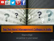 Top Ten Hotel Management Colleges in India